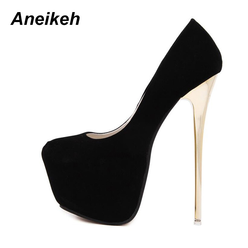 Aneikeh Big Size 41 42 43 44 45 Sexy Pumps Wedding Women Fetish Shoes Concise Woman Pumps High Heel Stripper Flock Pumps 16 Cm