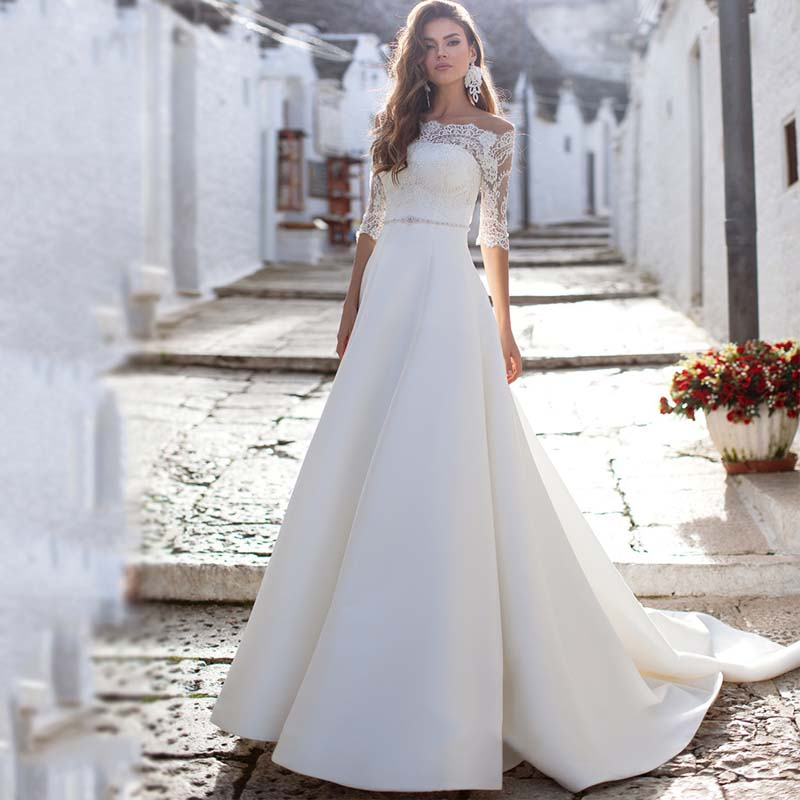 Off The Shoulder Half Sleeve Wedding Dress Sexy Appliques Lace White Ivory Back Button Bride Dresses 2019 Vestido De Noiva