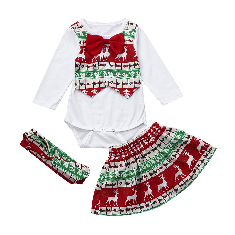 3Pcs Infant Girls Baby Deer Romper+Skirt+Headband Christmas Outfit ...