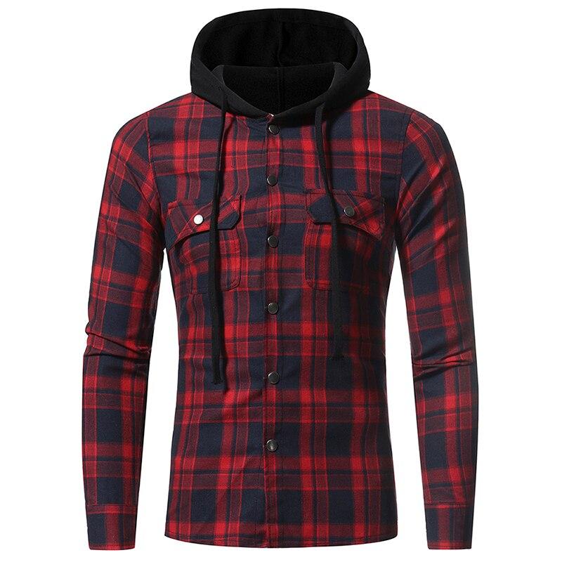 Hombres camisas a cuadros 2018 nueva moda salvaje coreano de manga larga de franela con capucha camisa Casual Slim Fit Plus tamaño de los hombres de algodón ropa rojo