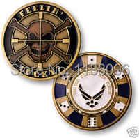 EE. UU. de la Fuerza Aérea del cráneo negro suerte USAF desafío Moneda de alta calidad de EE. UU. militares latón antiguo monedas