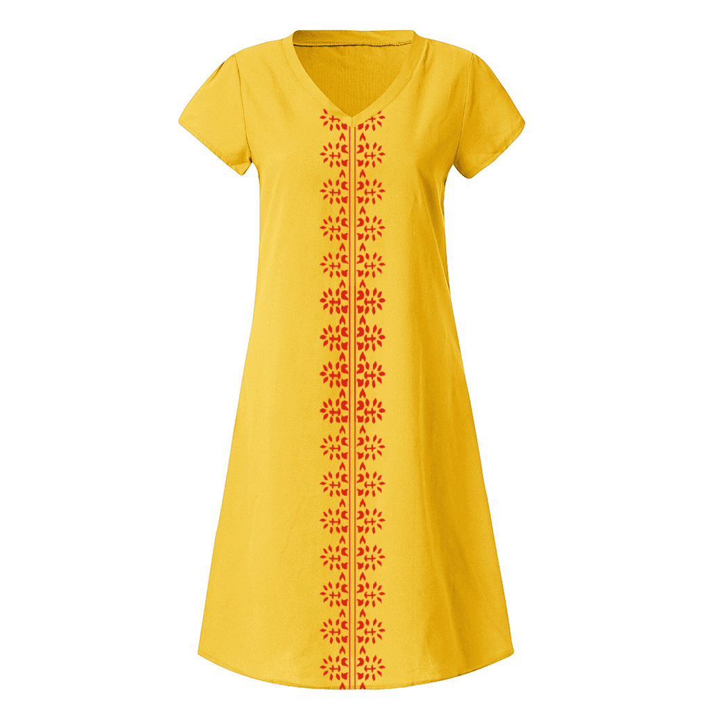 HTB1YSYAN7voK1RjSZFwq6AiCFXaY Women Summer Dress Style V-Neck Printed Cotton And Linen Casual Plus Size Ladies Dress Fashion Beach Dresses Party S-5XL Dresses