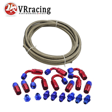 VR - AN6 Stainless Steel Braided Hose + Fitting Hose End Adaptor KIT VR7112+SL10AN6-RB