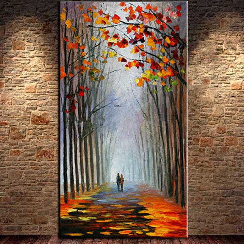Hand painted Knife 3D Tree Landscape Oil Painting on Canvas Large Abstract Natural Scene Paintings Home