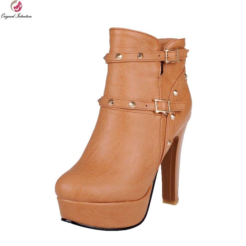 Original Intention Elegant Womens Shoes Fashion Round Toe High Heel Platform Ankle Boots Women Riding Boots Plus Size 3-10.5