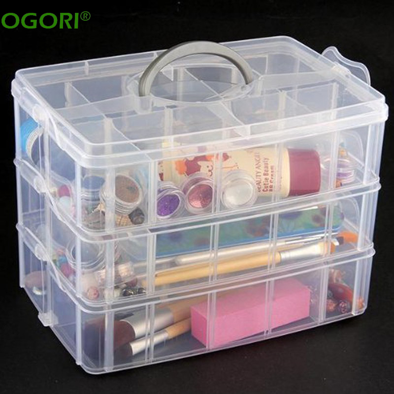 30 Grids Plastic Storage Box Portable Detachable Home Organizer Transparent Makeup Organizer porta joias-in Storage Boxes u0026 Bins from Home u0026 Garden on ... : 3 tier plastic storage boxes  - Aquiesqueretaro.Com