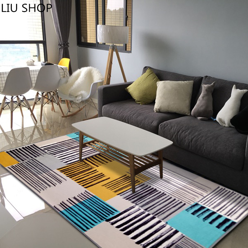 LIU Nordic modern minimalist fashion bedroom bedside table room carpet mats sofa rectang ...
