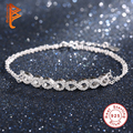 Luxury 925 Sterling Silver Crystal 8 Infinite bracelets & bangles Link Chain Bracelets For Women Authentic Jewelry pulseira