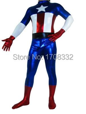 Captain America Costume Superhero full body Costume shiny metallic Captain America zentai suit  wholesale