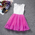 New 2017 Hot Sell Summer Girls Dress Patchwork Princess Baby 4 Color Dress Pearl Mesh Lovely Party Dress Cute Girl Clothes  126
