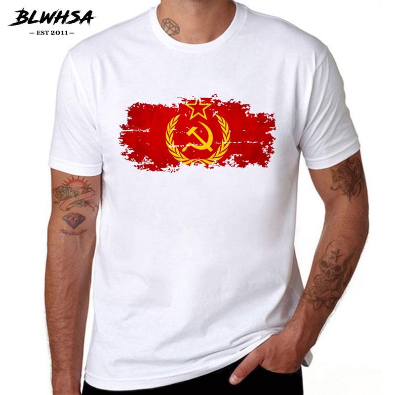 BLWHSA Soviet Union Flag Printing T Shirt Men Fashion Short Sleeve Summer T-shirts Funny CCCP Flag Brand Men Clothing