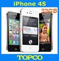 """Iphone 4S desbloqueado de fábrica Original 32 GB teléfono móvil GSM WIFI GPS 3.5 """" 8MP de blanco y negro inse aled caja dropshipping"""