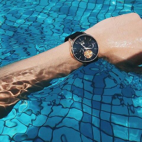 Bestdon Switzerland Automatic Watch Men Mechanical Waterproof Skeleton Watches Fashion Full steel Luminous Date Pilot Wristwatch Karachi