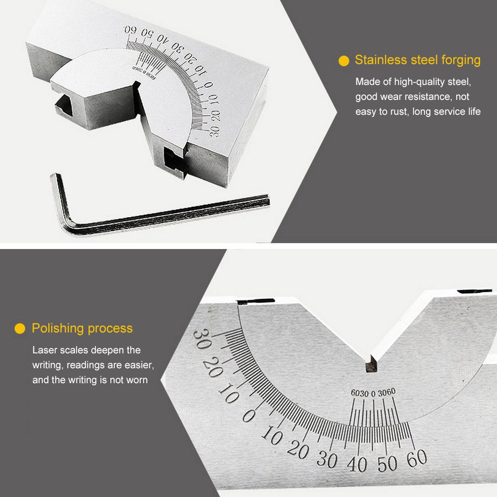 Adjustable Angle Gauge Durable Stainless Steel Clear Scale High Precision Angle V Block Micro Angle Gauge Measuring Tool for Grinders Milling Lathe Milling Machines
