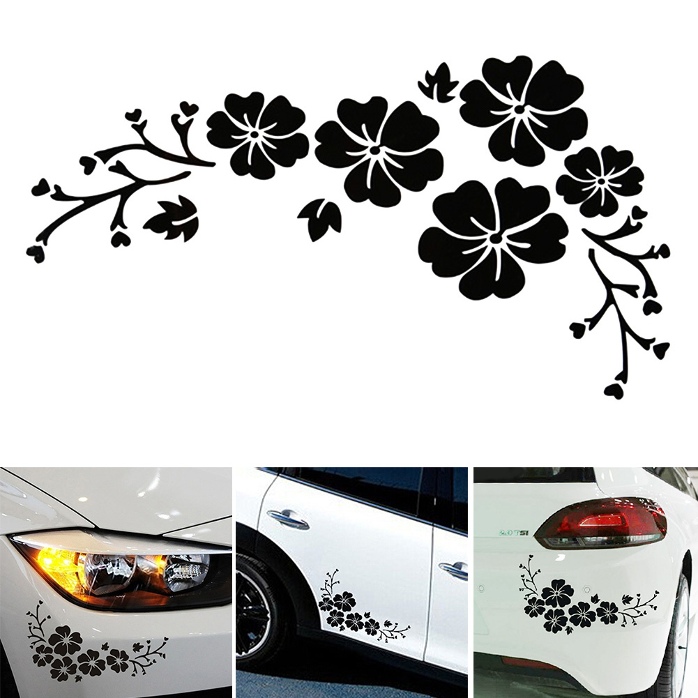 Car sticker flower design - Hot Sale 30x14 Car Styling Lovely Flowers Decorative Laminated Car Sticker Front Bumper Cover Scratches Decals