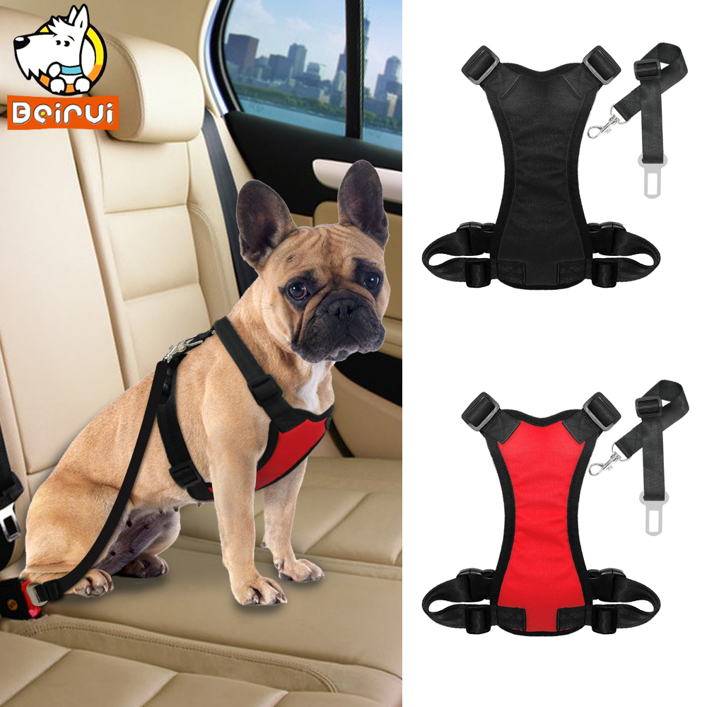Adjustable Dog Car Harness with Seat Belt Lead Clip Nylon Soft Mesh Safety Dog Vehicle Harnesses For Medium Large Dogs