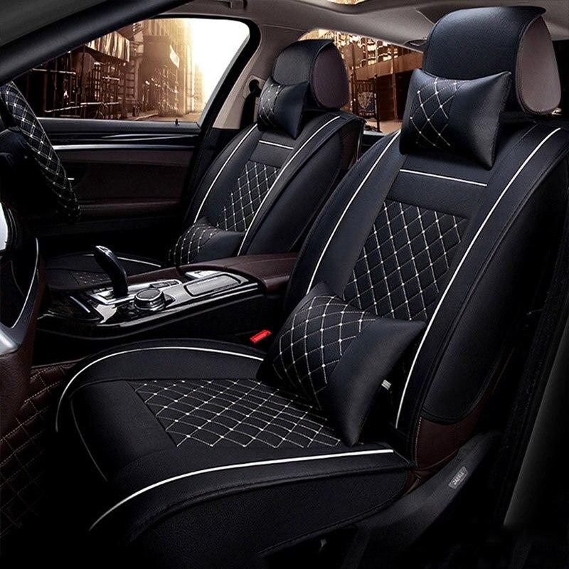 5 sièges housse de siège de voiture pour Peugeot 206 207 301 307 308 406 407 408 luxe PU cuir Auto universel siège de voiture couvre accessoires