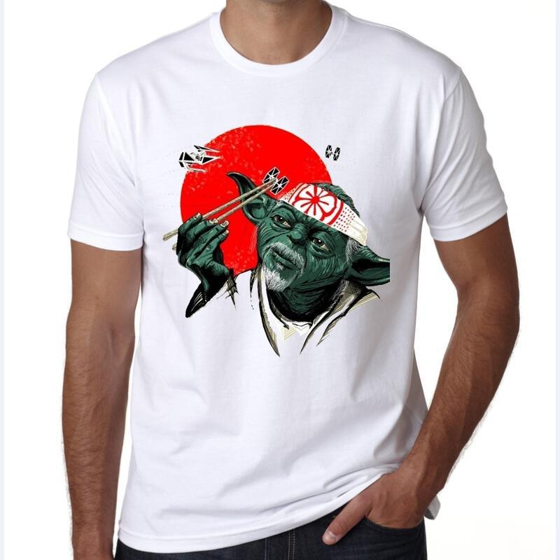Men 2016 Summer Fashion star wars Yoda Cool Dj Hip Hop Darth Vader T Shirts Male Short Sleeve T-shirts Funny Print Shirts