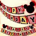 Ducha de bebé mickey mouse party bunting 1 bandera/bolsa, 15 banderas por bunting, favores de partido feliz cumpleaños decoración AW-0701