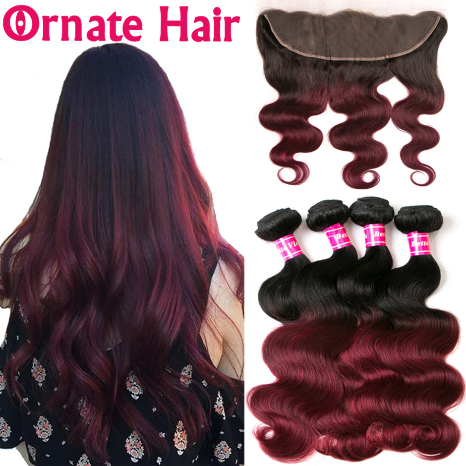 Ornate Hair Colored Ombre Bundle With Frontal Closure Brazilian Body Wave Bundle With Closure Lace Frontal