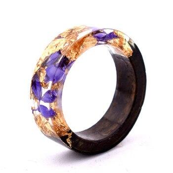 Handmade Flowers Wood Resin Ring38