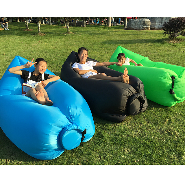 Blue Air Inflatable Beanbag Sofa Chair Living Room Bean Bag Cushion Outdoor Self