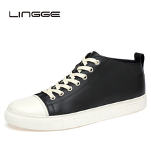 LINGGE Handmade 100% Genuine Leather Men Ankle Boots Fashion Vintage Classic Male Casual Plus Size 38-47