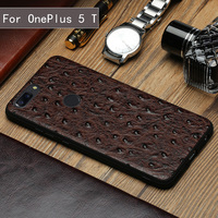 Wangcangli Genuine Leather Phone Case For Oneplus 5 5T Silicone Edge Luxury Ostrich Texture Utral Slim