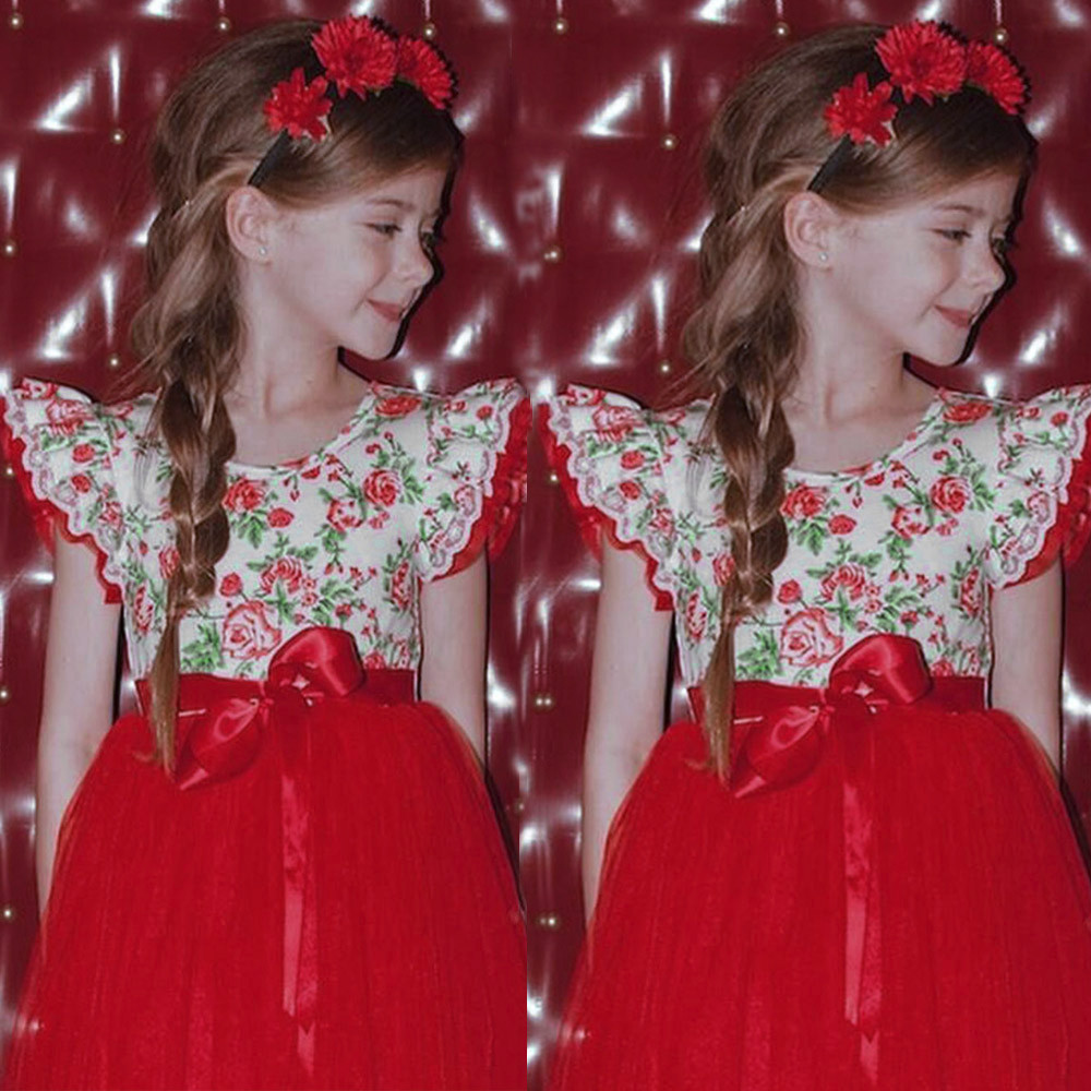 2018 high quality Cute fashion Infant Toddle Baby Girls Floral Lace Tutu Sleeveless Clothes Princess Dress sweet vestidos 1Y-3Y