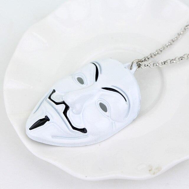 Retro Charme Film V für Vendetta ANONYMOUS Maske Schmuck Übertrieben Hacker Maske Halsketten Trendy Schmuck Männer Frauen Cosplay Geschenk