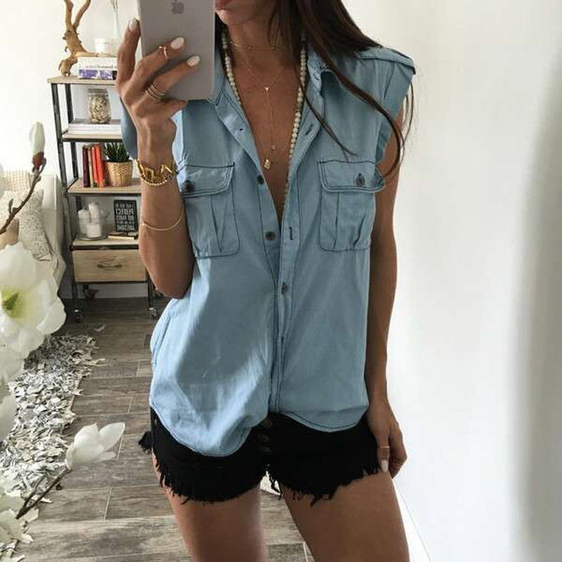 Blouse Blue Jean Denim Fashion Women Lady Tops Casual Sleeveless Blue Shirts Pocket Brief Tops Outwear Summer Clothing Vest