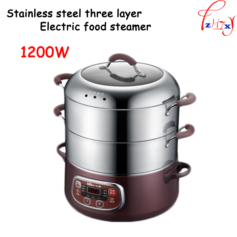 220V Stainless steel three-layer electric hot pot / pan / steamer table multi-purpose electric hot pot Electric chafing dish 220v 600w 1 2l portable multi cooker mini electric hot pot stainless steel inner electric cooker with steam lattice for students