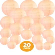 "20 pcs 6 "" 12"" 복숭아 종이 랜턴 중국어 모듬 된 크기 라운드 lampion 웨딩 파티 lampionnen 야외 실내 매달려 장식"