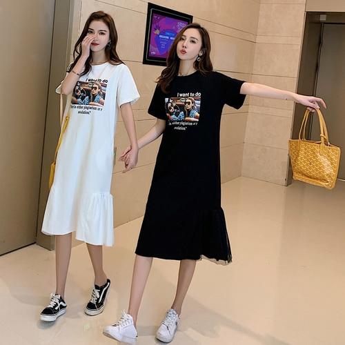 Summer Womens Casual Wear Korean Style Short Sleeves Mid-calf Vestido Splicing Mesh T-shirt Women Dress Brief And Loose