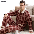 BXMAN Brand Men's New Pijamas Hombre Classic Pajamas Thicken Warm Coral Fleece Plaid Turn-down Collar Full Sleeve Men Pajamas 38