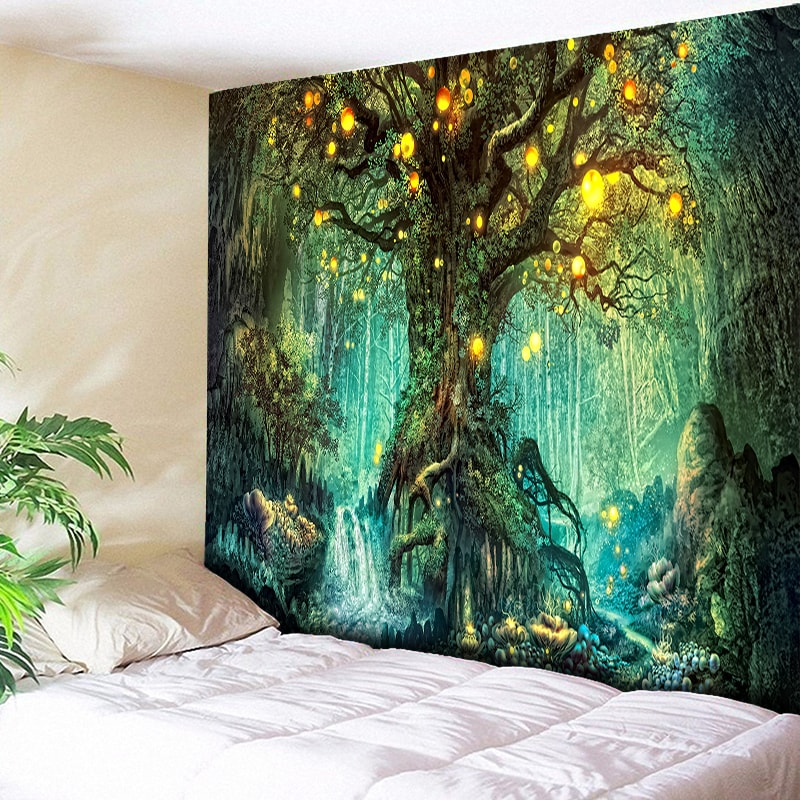 Wishing Trees 3D Print Tapestry Wall Hanging Psychedelic Decorative Wall Carpet Bed Sheet Bohemian Hippie Home Decor Couch Throw