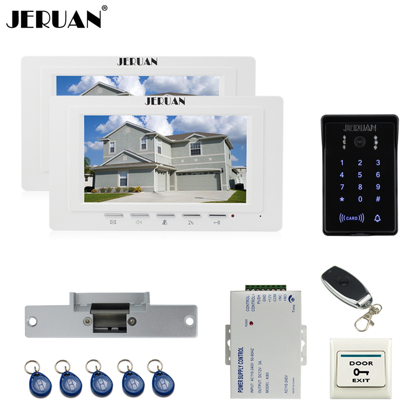 JERUAN luxury 7`` TFT Video Intercom Video Door Phone System 2 monitor RFID Waterproof Touch key Camera+Remote control Unlocked jeruan apartment 4 3 video door phone intercom system kit 2 monitor hd camera rfid entry access control 2 remote control