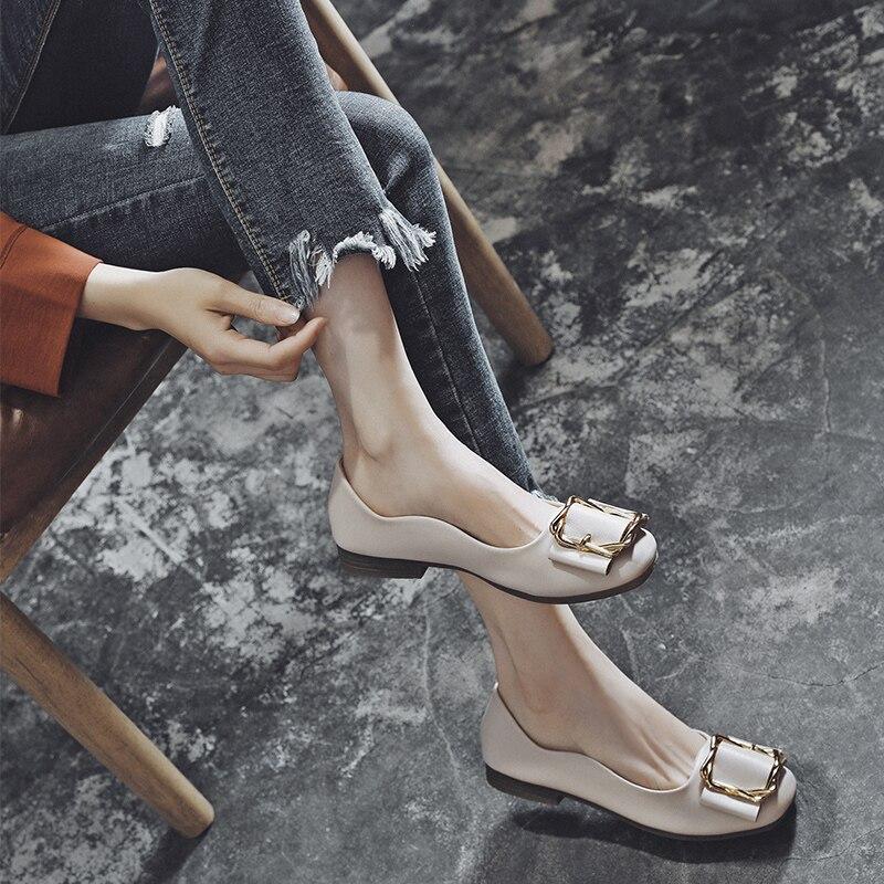 MYCORON/Новинка, женские роскошные дизайнерские туфли на плоской подошве, кожаные низкие туфли, женские кожаные туфли с квадратным носком, sapato