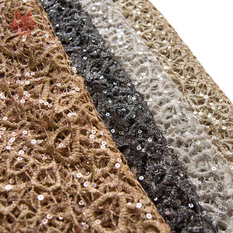 2015 New gold/black/grey embroidery lace fabric with sequins ,guipure lace for wedding/party dress free shippingSP17662015 New gold/black/grey embroidery lace fabric with sequins ,guipure lace for wedding/party dress free shippingSP1766