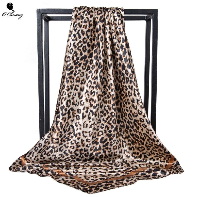 Leopard Scarf Women Foulard Square Luxury Designer Big Bandana Hijab Satin Silk Head Scarves Leopardo Mujer 90cm X 90cm