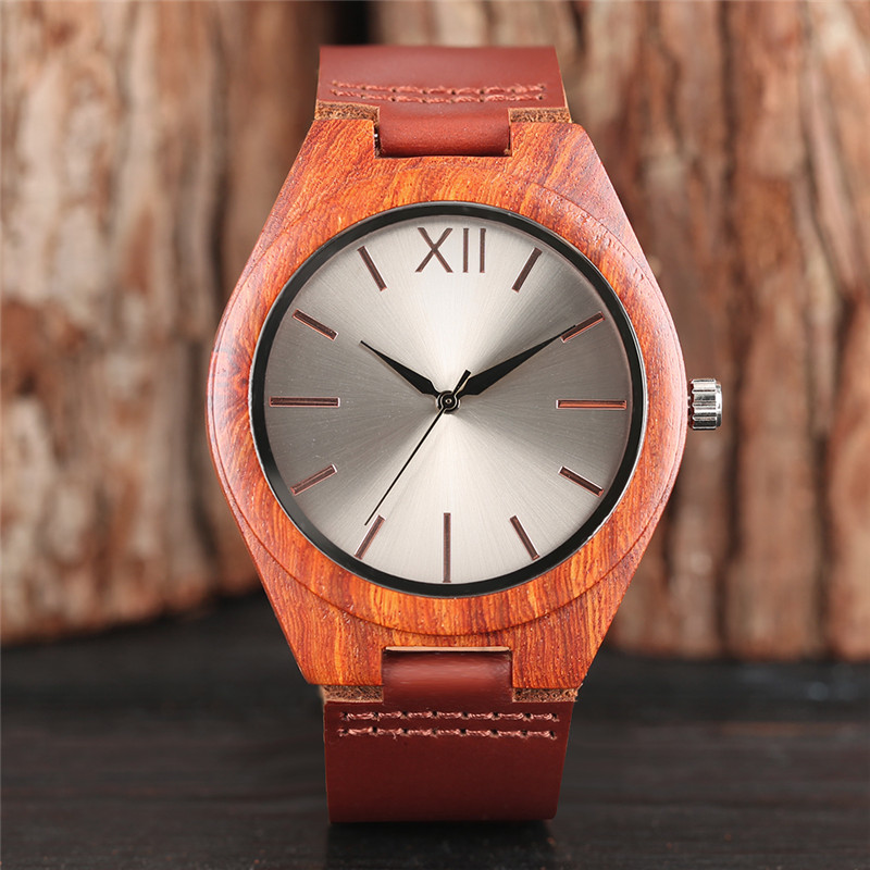Modern Quartz Wooden Watch Men Fashion Red Brown Wood Wristwatch Genuine Leather Band Creative Watches 2018 New Fashion Clock bobo bird brand new sun glasses men square wood oversized zebra wood sunglasses women with wooden box oculos 2017