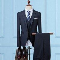 2018 Men Suit Jackets + Pants + Vests Large Size 5XL Fashion Business Wedding Banquet Men's Dress Suits