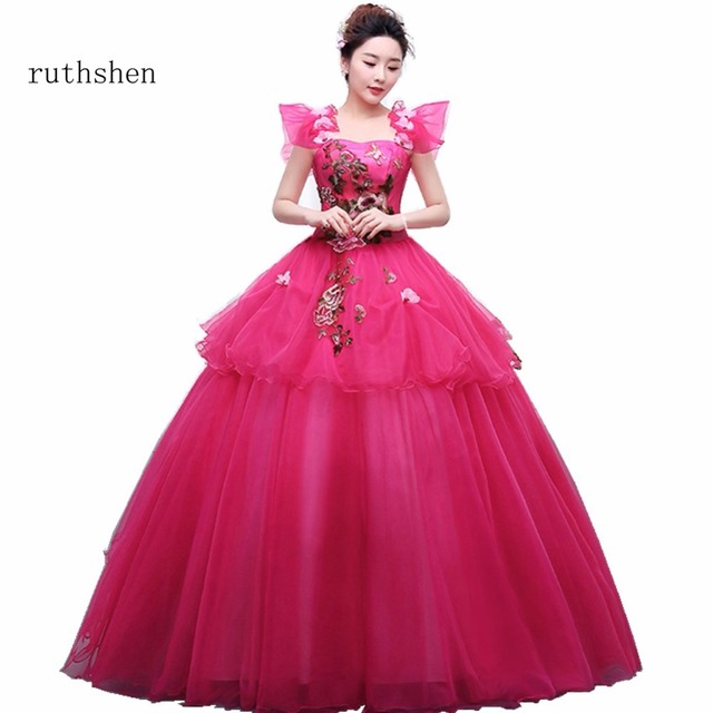 ruthshen Hot Rose Pink Long Prom Dresses 2018 Cap Sleeves Appliques ...