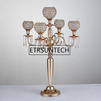80cm height 5 arms metal Gold/ Silver candelabras with crystal pendants wedding candle holder Event centerpiece