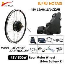 Bici elettrica potente del corredo di conversione 500W con la batteria elettrica del Ebike della bicicletta 48V 20