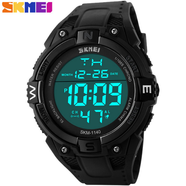 SKMEI 2017 New popular Brand Men fashion sports Watches digital LED display 50M waterproof Wristwatches chronograph black dial