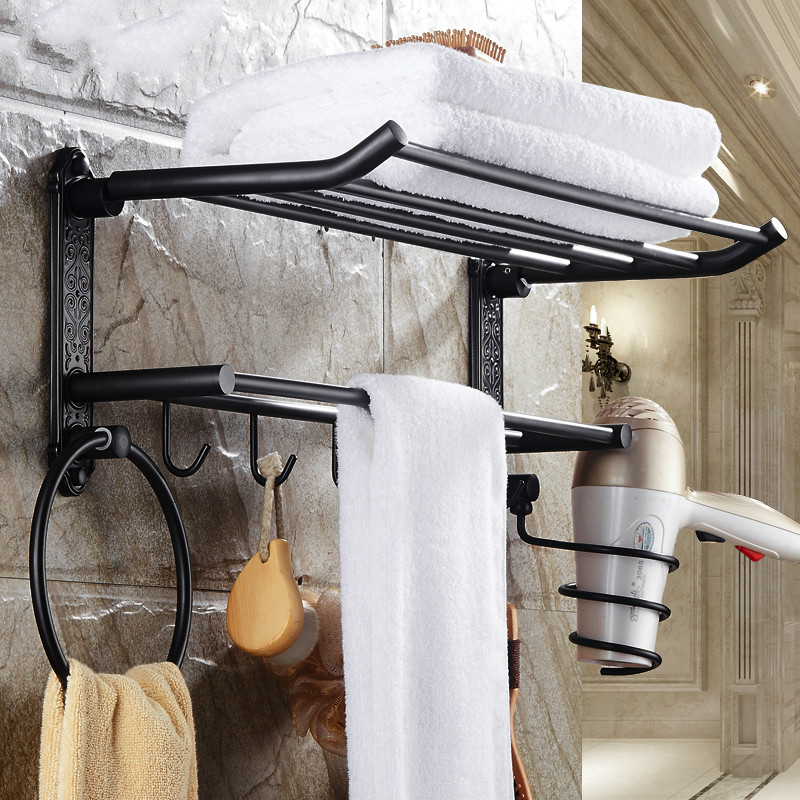 Antique Brass Folding Towel Rack Black Bronze Suit European Bathroom Shelf With Hair Drayer Holder Towel Ring Multifunction Rack free shipping european luxurious antique bronze towel ring towel holder towel rack bathroom accessories wholesale 66007b