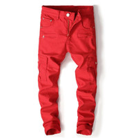 2018 New rock High Quality Retro Mens Jeans Washed Slim Skinny Biker Classic Casual Denim skinny jeans men Red Cargo Trousers