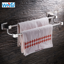 цена на WEYUU Double Towel Bar SUS304 Stainless Steel Towel Rack 40/50/60cm Wall mounted Bathroom Accessories Holder Brushed Nickel