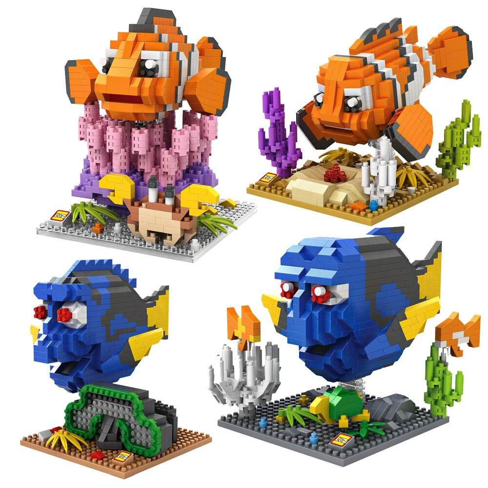 LOZ Block Action Figur Diamond Building Block Hitta Nemo Clownfish Dory Figur Marlin Charlie Anime Leksaker Julklappar 9726